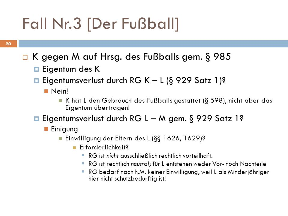 Fall Nr.3 [Der Fußball] K gegen M auf Hrsg. des Fußballs gem. § 985
